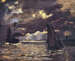 Морской пейзаж, корабли в лунном свете