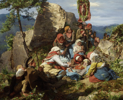 "Ferdinand Georg Waldmüller. The Interrupted Pilgrimage (""The Sick Pilgrim"")"