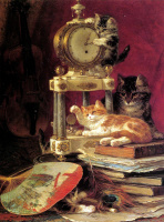 Генриетта Роннер-Книп. Котята, играющие с павлиньим пером