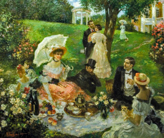 Picnic in the rose garden