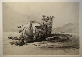 Александр Осипович Орловский. Лежащая лошадь