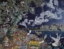 Rakib Shaw. Self-portrait in the form of the smoker of opium (a Midsummer night's Dream)