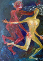 Zakir AHMED Ahmedov. .Old Lover 2016year 27x19inOriginal Painting Oil on Canvas