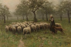 Антон Мауве. Пастушка и отара овец