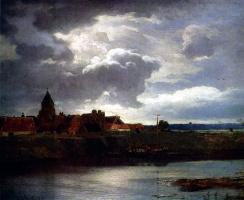 Андреас Ахенбах. Пейзаж с рекой 1866 г. Дерево, масло