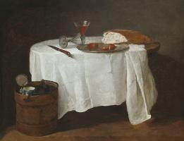 Jean Baptiste Simeon Chardin. Still life. Table with white tablecloth