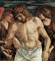 Джованни Беллини. Полиптих Сан Винченцо Феррери. Фрагмент. Ангелы поддерживают Христа
