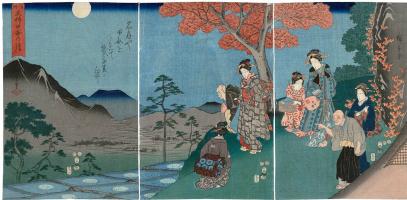Утагава Хиросигэ. Триптих: созерцание отражения луны на рисовых полях в Сарашино, провинции Шинано