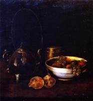 Уильям Меррит Чейз. Натюрморт с чайником и фруктами