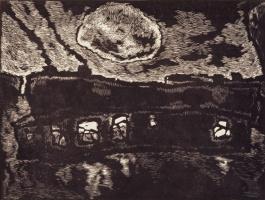 Оскар Яковлевич Рабин. Барак с луной