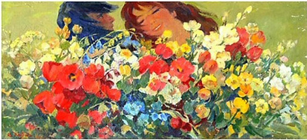 Albert Tsovyan. Wild flowers - 1971 oil on canvas - 37.0 x 81.0.