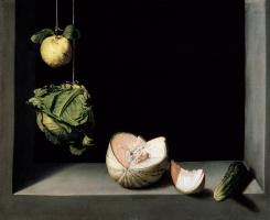Хуан Санчес Котан. Натюрморт с айвой, капустой, дыней и огурцами