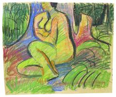 Эрнст Людвиг Кирхнер. Сидящая Эрна перед лесными деревьями