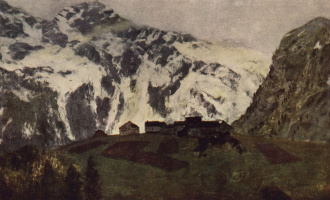 "Isaac Levitan. In The Alps. A sketch for the painting ""spring In the Alps"""