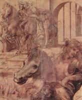 Леонардо да Винчи. Поклонение волхвов, деталь