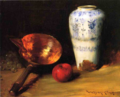 William Merritt Chase. Still life with Chinese vase, a bucket and an Apple