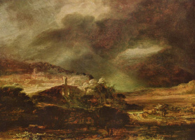 Рембрандт Ван Рейн. Город на холме в бурную погоду