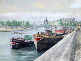 Александр Борисович Серебряков. Париж, Набережная Генриха IV .1940  перо