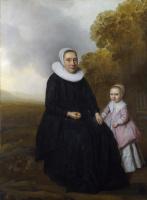 Голландский. Портрет сидящей женщины и девушки в пейзаже