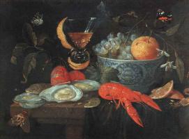 Jan van Kessel Elder. Still life with fruit and shellfish