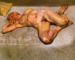 Люсьен Фрейд. Блондинка на кровати