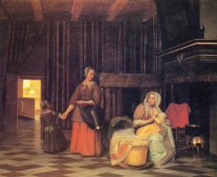 Питер де Хох. Кормящая мать, служанка и ребенок