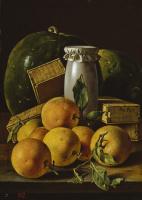 Луис Мелендес. Натюрморт с апельсинами, коробками конфет и арбузами