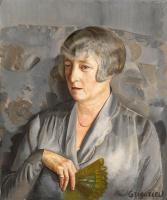 Борис Дмитриевич Григорьев. Портрет мадам Бартелеми с зеленым веером