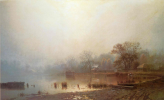Lev Lvovich Kamenev. Fog. Red pond in Moscow in autumn