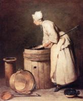 Жан Батист Симеон Шарден. Женщина, мытье посуды