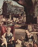 Витторе Карпаччо. Мадонна на троне и Иоанн Креститель, слева: св. Иосиф и св. Анна, справа: св. Елизавета и св. Захария, деталь: Мария и Елизавета