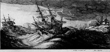 Венцель Холлар. Военные корабли в бурю