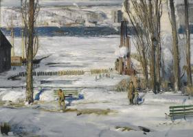 Джордж Уэсли Беллоуз. Утренний снег на реке Гудзон