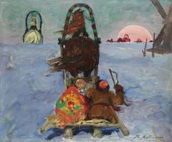 Филипп Андреевич Малявин. Зимний пейзаж с санками
