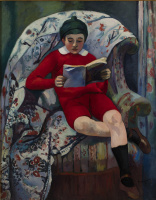 Henri Manguin. Claude in the red reading