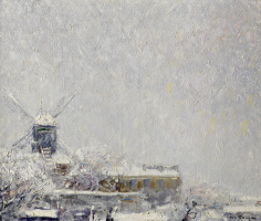 Кес Ван Донген. Мулен де ла Галетт под снегом