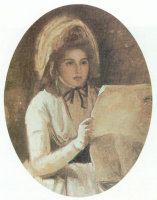 George Romney. Lady Hamilton reading a newspaper