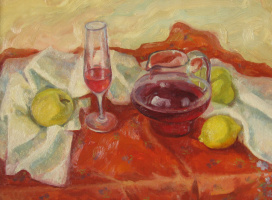 Red still life with lemon