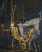 Joseph Wright. Merawan breaks the tomb of their ancestors