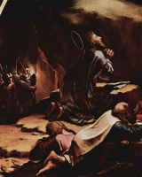 Ганс Гольбейн Младший. Алтарь Страстей Христовых, левая створка внешняя сторона, сцена вверху: Христос в Гефсиманском саду, деталь