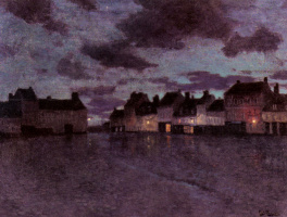 Frits Thaulow. Marketplace in France after a rainstorm