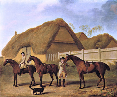 George Stubbs. Horses and riders near the stables