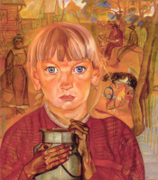 Борис Дмитриевич Григорьев. Девочка с бидоном (Утро в деревне)