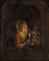 Геррит (Герард) Доу. Девушка с фонарём в окне