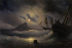 Иван Константинович Айвазовский. Гибралтар ночью