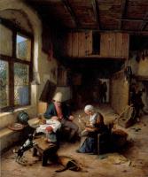 Адриан ван Остаде. Интерьер крестьянского дома