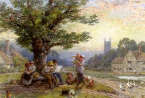 Майлз Беркет Фостер. Фигуры детей под деревом возле деревни