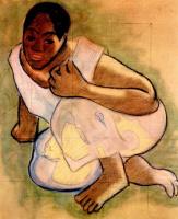Поль Гоген. Скорчившаяся таитянская девушка