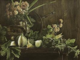 Евгений Боровик. Натюрморт с кабачками и хризантемами