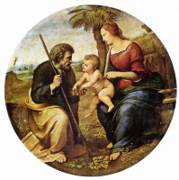 Рафаэль Санти. Святое семейство под пальмой, тондо